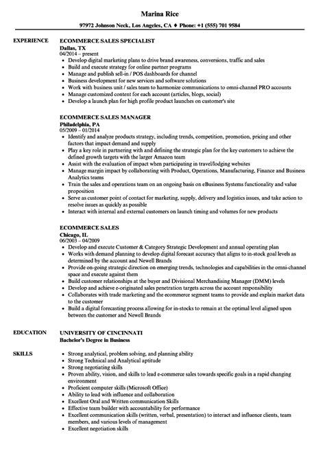 Ecommerce Resume by Ecommerce Sales Resume Sles Velvet