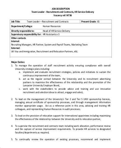 team lead description sle 9 exles in pdf
