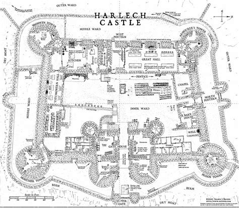 harlech castle floor plan harlech castle layout castle layout pinterest