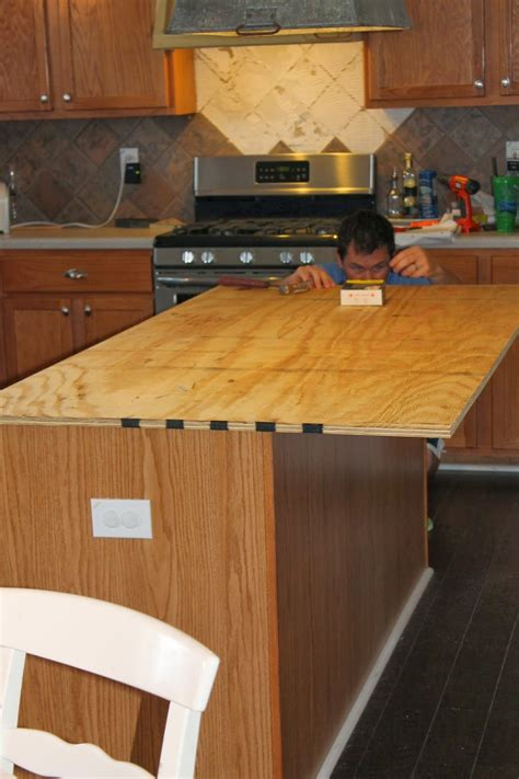 diy wood kitchen island countertop install new plywood base for faux reclaimed wood countertops the ragged wren on remodelaholic