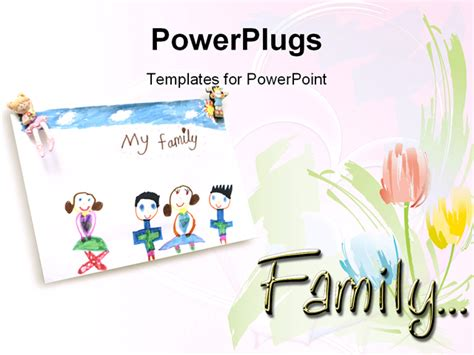 Free Family Powerpoint Templates powerpoint template child drawing of loving family and roses on a white background 11676