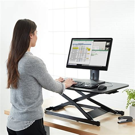 sit stand desk converter amazonbasics height adjustable sit stand desk converter
