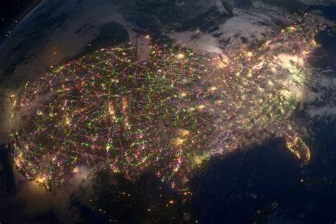 xmas lights from space usa caught on camera pinterest