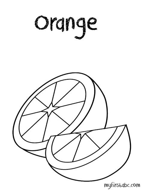 Orange Coloring Page My First Abc Orange Coloring Pages