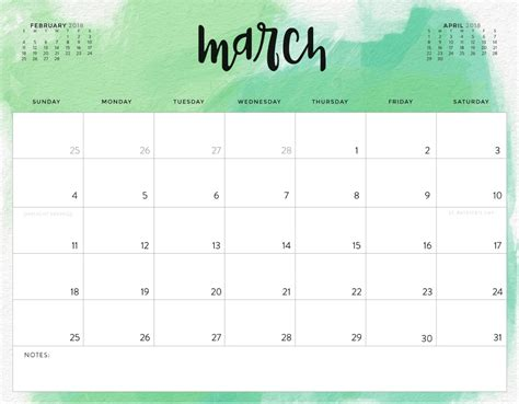 march calendar template march 2018 printable calendar free blank calendar