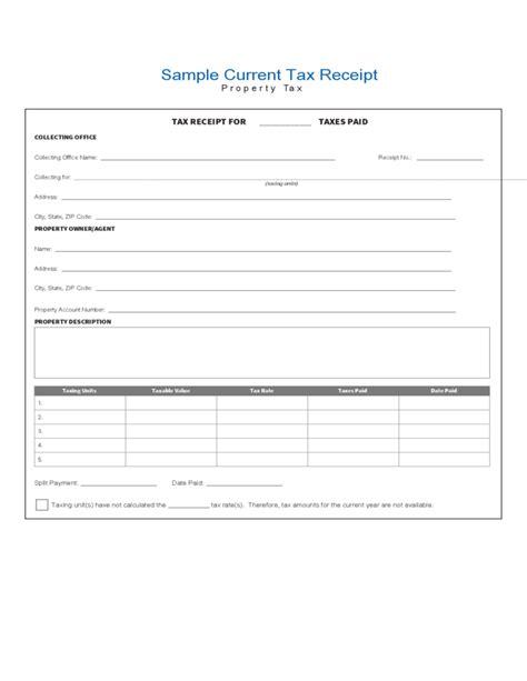tax receipt template sle current tax receipt free