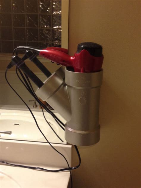 Hair Dryer Straightener Holder Diy pvc pipe hair dryer and curling iron straightener holder for the home