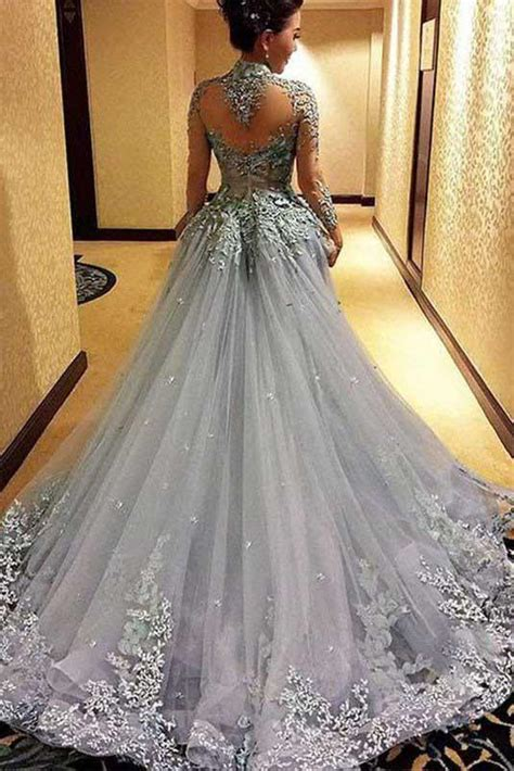 Gorgeous Ball Gown Pri Ess Long Sleeves Tulle Gray Long
