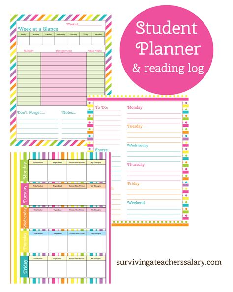 printable planner for college student printable student planner and reading log