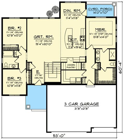 craftsman open floor plans craftsman with open concept floor plan 89987ah