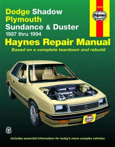 free online car repair manuals download 1993 plymouth laser electronic toll collection dodge shadow plymouth sundance duster haynes repair manual 1987 1994 xxx30055
