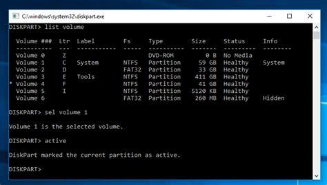 diskpart format ntfs 0 percent diskpart make partition active