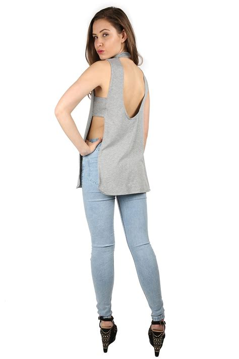 Neck Slit Side T Shirt womens sleeveless high neck plain stretch low back