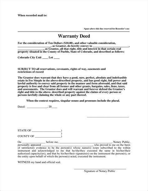 warranty deed form warranty deed form colorado form resume exles