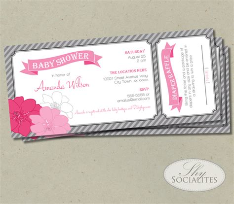 Ticket Baby Shower Invitations by Pink Grey Raffle Ticket Baby Shower Invitation