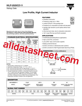 vishay inductors datasheet ihlp 2525cz 11 datasheet pdf vishay siliconix