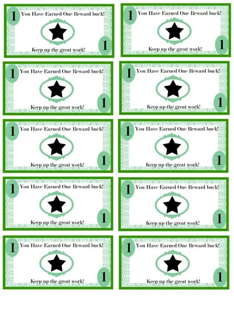 money template for school free printable reward bucks for money theme i m