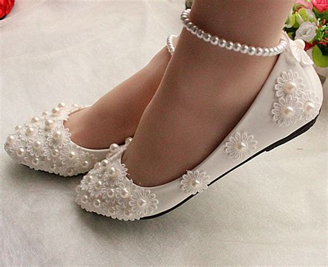 brautschuhe flacher absatz white lace wedding shoes pearls ankle trap bridal flats