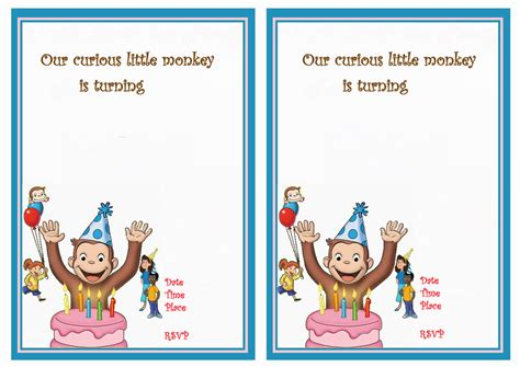 curious george birthday card template curious george birthday invitations walmart invitations