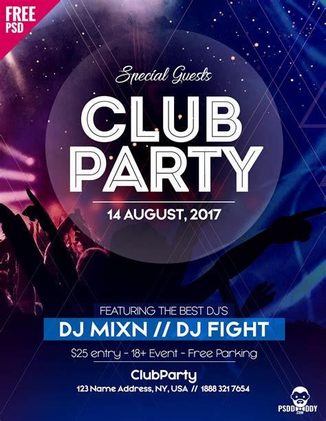 free psd flyer template for club party uxfree com