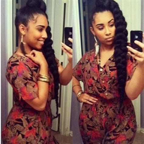 toya wright side braid style high braid ponytail braided hair styles pinterest