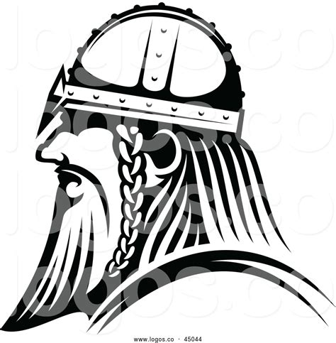 viking braided sideburns vector logo of a determined viking warrior with