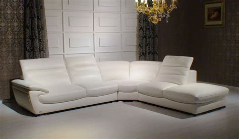 White Leather Sectional Sofas 8468 Contemporary White Leather Sectional Sofa