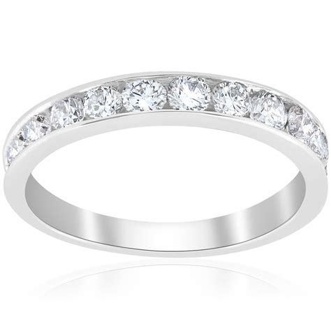 1ct wedding ring 14k white gold channel set womens
