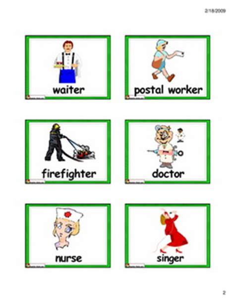 printable flash cards jobs english for kids esl kids flashcards jobs and places