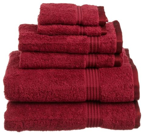 superior egyptian cotton 6 piece burgundy towel set traditional bath towels by blue nile