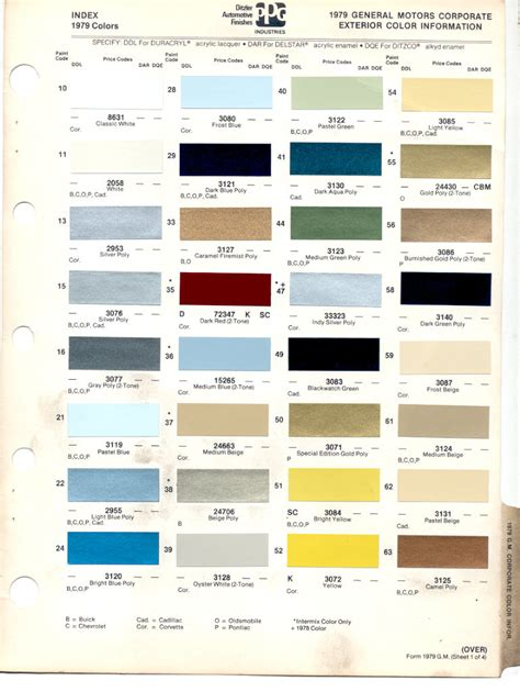 gm color codes 1979 gmc paint colors