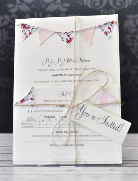 a5 fabric bunting package wedding invitation