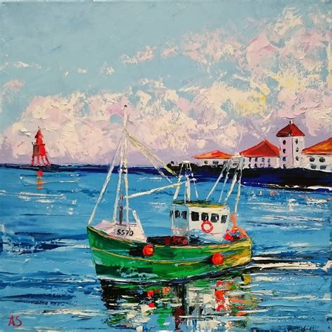 boat oil painting old irish boat original seascape oil painting on canvas