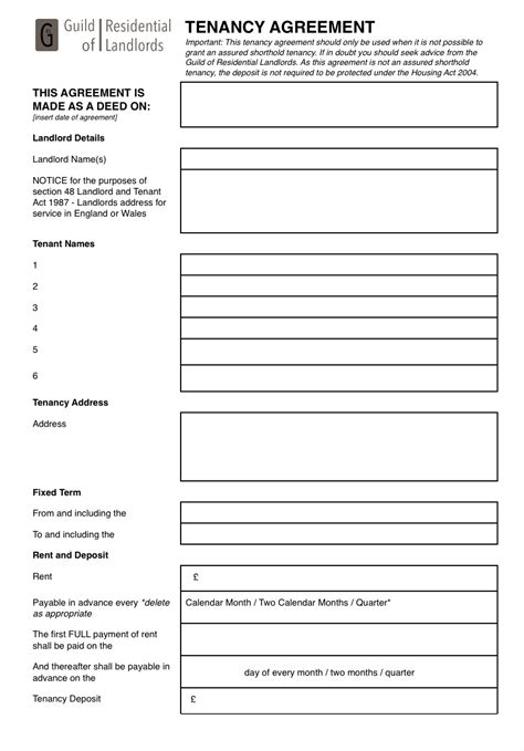 tenancy agreement template uk free contractual common tenancy agreement grl landlord