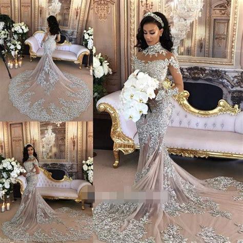9181 Dress Mermaid arbaic 2017 mermaid wedding dresses luxury beaded rhinestone high neck