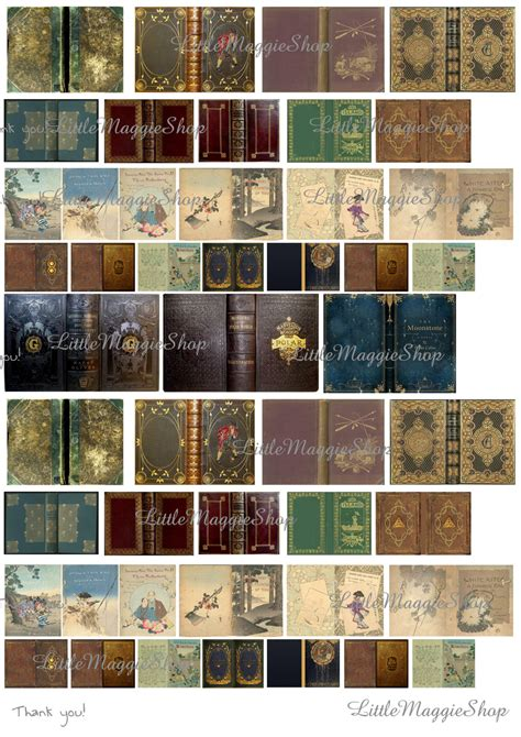 doll house books vintage magic book covers set 1 12 scale downloadable