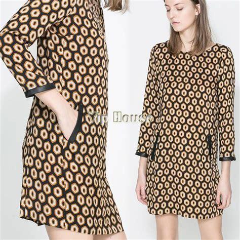 pattern leather dress new arrival lady vintage geometric shape pattern dress