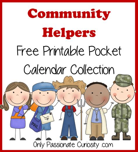 printable images community helpers community helpers free pocket calendar cards and reading