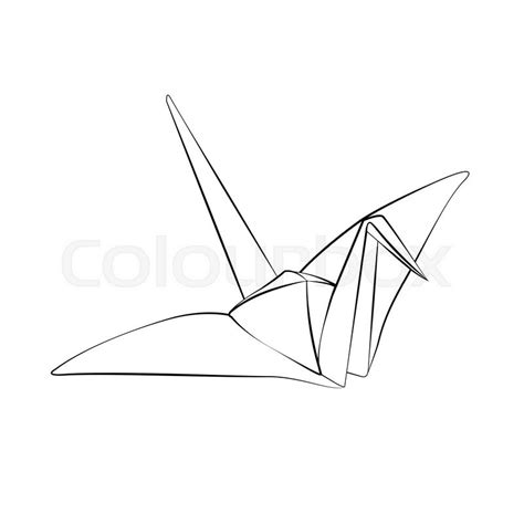 Origami Crane Outline - black outline vector origami bird on white background