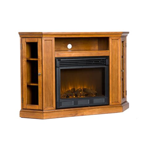 Corner Electric Fireplace Tv Stand Furniture Curved And Carved Cherry Wood Fireplace Tv Stand Placed On Brown Wooden Laminated