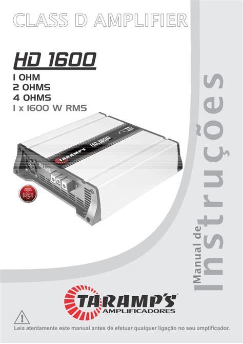 Manual M 243 Dulo Amplificador Taramps Hd 1600 1600w Rms