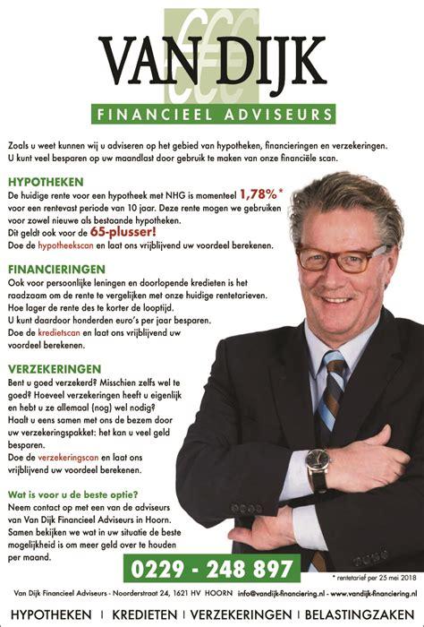 financieren tweede woning voor verhuur zondagskrant advertentie van dijk financieel adviseurs