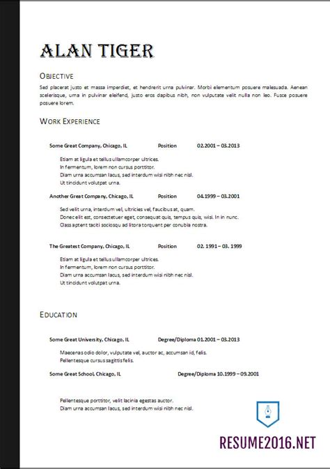Format Of Resume Template by Resume Format 2017 20 Free Word Templates