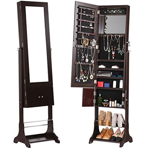 free standing full length mirror jewelry armoire langria free standing lockable jewelry cabinet full length