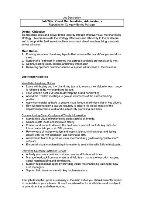 resume job description for merchandiser - Job Description For Merchandiser