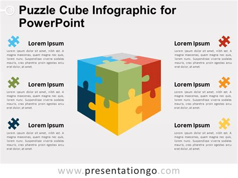 Puzzle Cube Infographic For Powerpoint Presentationgo Com Powerpoint Cube Template