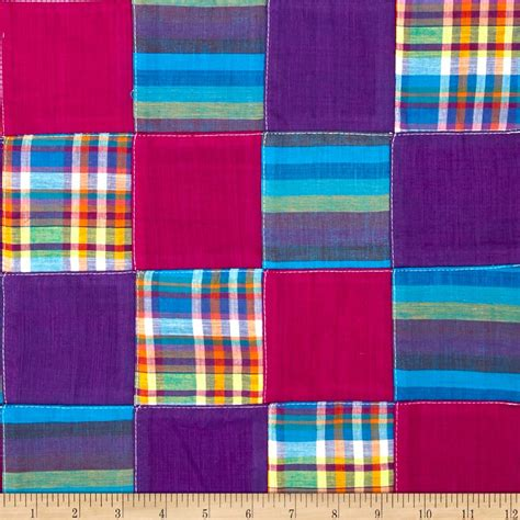 Patchwork Plaid - madras plaid patchwork purple discount designer fabric