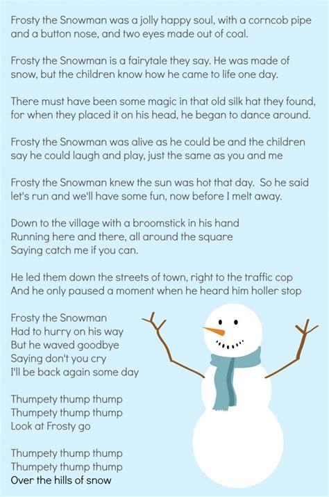 printable lyrics for frosty the snowman 6 best images of words to frosty the snowman printable