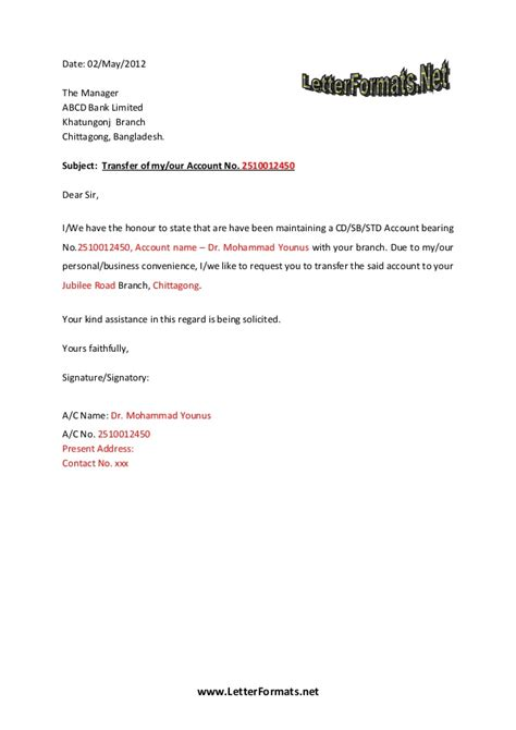 Change Of Bank Branch Letter Format Bank Account Transfer Letter