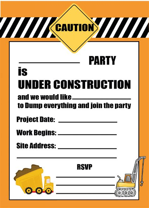 printable themed party invitations free printable construction party invitation printable